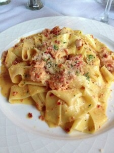 Fresh Salmon with pasta and a decadent cream sauce