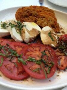 Local Heirloom tomatoes mozzarella salad