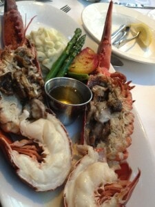 1 1/2 pound Lobster with asparagus spears, creamy mashed potatoes rich butter