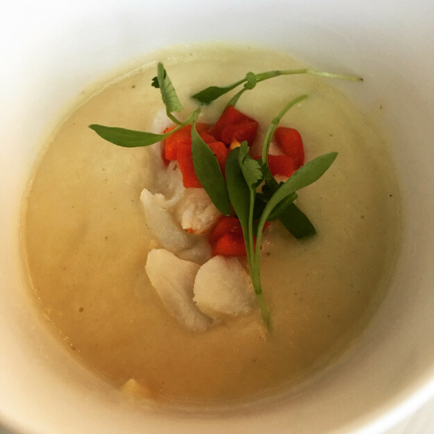 Sweet Corn Soup with lump crab